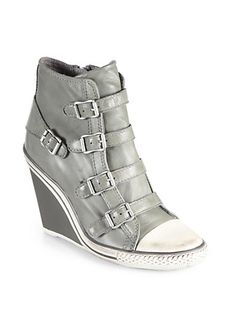 Ash - Thelma Leather Wedge Sneakers - Saks.com