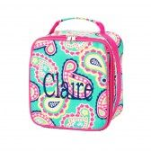 Mint Paisley Lunch Bag With customized monogramming