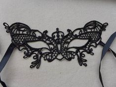 Beautiful Black Butterfly Mask Crochet Lace Mask by prettylaceshop