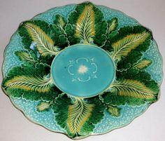 Vintage-Wedgwood-Large-Green-Majolica-Bowl-NO-RESERVE