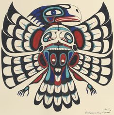 (usa) Native American thunderbird with bear. Inuit Kunst, Arte Inuit, Arte Haida, Haida Art, Inuit Art, Native American Drawing, Native American Symbols, Native American Design, American Indian Art
