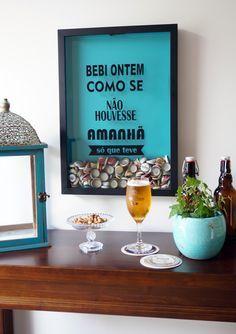 Apenas bebi, ops! Colecione as tampinhas de suas cervejas ou lacres de latinhas. Quadro perfeito para sua área de festas, churrasqueira, sacada gourmet ou parede do bar!