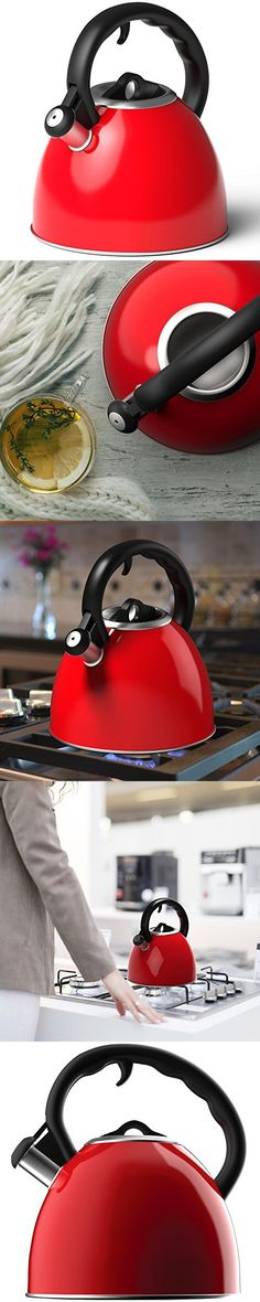 Vremi Whistling Tea Kettle - Red 2 Quart Teapot for Stovetop with Lid in Brushed Stainless Steel - Modern Tea Pot for Gas or Electric Stove