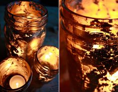 """Gilded Jars"" from Aunt Peaches blog. I would do votive candle holders with silver leaf for mercury glass look-alikes."