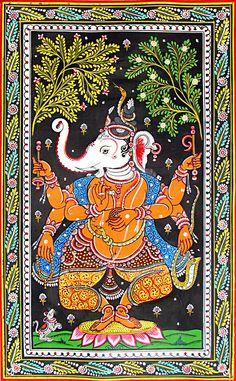 Dancing Ganesha (Orissa Paata Painting on Tussar Silk - Unframed))