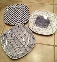 Sharpie plates - I got the off brand of Sharpies at Walmart for $1 and the plates from the dollar store. After drawing the designs on them, I baked them at 250 degrees for 30 minutes. I haven't tried washing them in the dishwasher yet, so I'm not sure if it worked, but I'll find out soon! It may work easier with porcelain paint pens, according to a few blog posts I read.