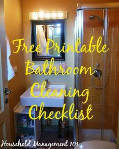 free printable bathroom cleaning checklist