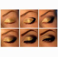 Pretty Step By Step Gold Smokey Eye #Beauty #Trusper #Tip