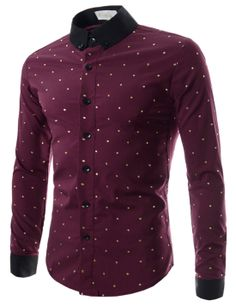 Mens Slim Fit Dot Pattern Stretchy Long Sleeve Shirts