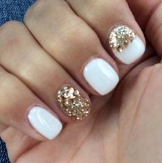 My white nails with gold studs and glitter. Done with biosculpture.
