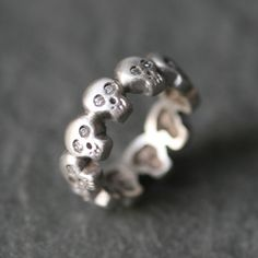 Baby Skull Band Ring in Sterling Silver by MichelleChangJewelry