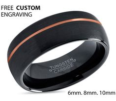 Black Tungsten Ring Rose Gold Wedding Band Ring Tungsten Carbide 8mm 18K Tungsten Man Wedding Band Male Women Anniversary Matching by BellyssaJewelry on Etsy