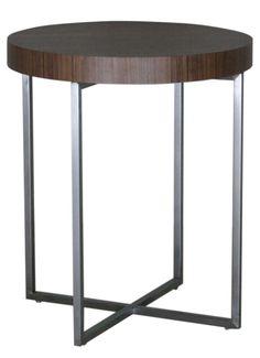 Mesa auxiliar redonda con pies de acero cromado sobre - Mesa auxiliar redonda ikea ...