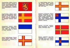 Luonnoksia ja ehdotuksia Suomen lipuksi.
