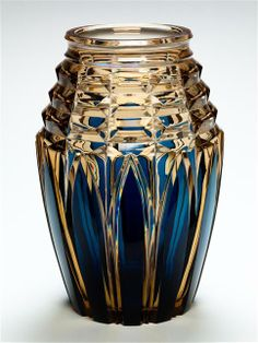 """BLUE OVER TOPAZ VAL ST LAMBERT """"LIEGE"""" VASE THE FLARED BASE WITH DEEPLY CUT GOTHIC ARCHES BELOW THREE TAPERED GEOMETRIC BANDS AND A CIRCULAR NECK"""