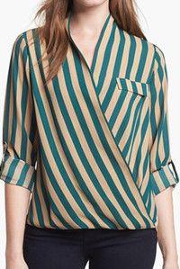 Pleione Faux Wrap Stripe Blouse Green Bug/ Tan Stripe