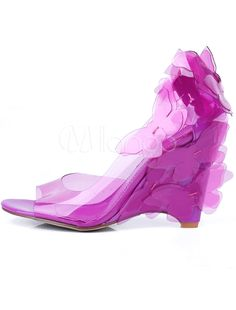 Romantic Bow Peep Toe Transparent PC Women's Wedge Shoes