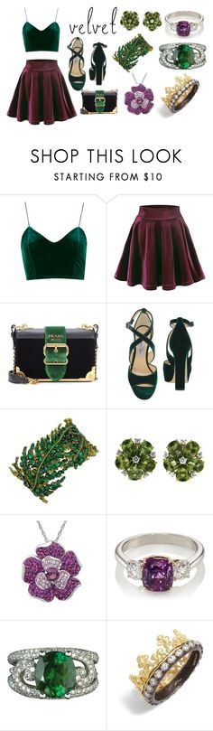 """Royal Velvet"" by the-game-is-something ❤ liked on Polyvore featuring Prada, Jimmy Choo, Valentin Magro, Amanda Rose Collection, McTeigue & McClelland, Armenta and velvet"