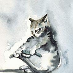 I LOVE amberalexander's art: cat art SOMEBODY has got to brush it by amberalexander on Etsy, $20.00