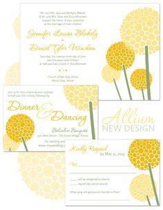 Allium Modern Flower Wedding Invitation