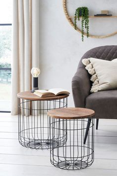 Wire Baskets, Storage Baskets, Black Wire Basket, Wooden Tops, Nesting Tables, Home Reno, Next Uk, Home Living Room, Family Room