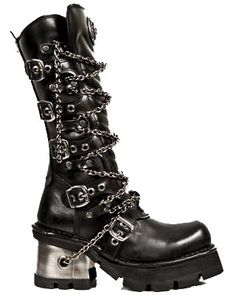 New Rock Boots Black Planing Mid Calf Boot w/ Chains - 1017