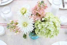 Summer table setting with blue mason jars -          Have you fallen head over heels for those Ball reproduction blue mason jars yet?   *sigh* ...