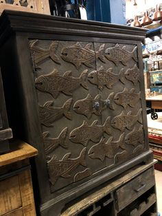 Rich deep stained solid wood!  Carved fish for the fish lover in you!  Manzel, 96 Foster St., Peabody, MA and www.manzelinc.com  #fish #sea #nauticalfurniture Nautical Furniture, Rustic Wood Furniture, Wood Fish, Online Furniture Stores, Dark Wood, Hand Carved, Solid Wood, Carving, Deep