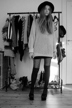 Oversized sweater with thigh high socks and pattern rights. Love the idea of toning down the patterned tights with the solid thigh highs.