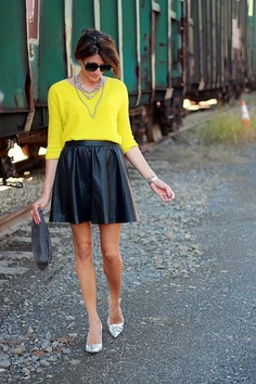 black leather skirt fall 2012 trend style office clothing attire fashion young professional