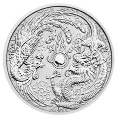 2017  P Australia $1 1 oz. Silver Dragon & Phoenix Coin In Mint Capsule