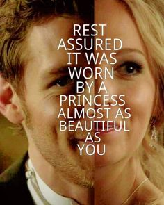 "The Vampire Diaries Klaus & Caroline ""Rest assured it was worn by a princess almost as beautiful as you"" Caroline Forbes, Klaus And Caroline, The Vampire Diaries 3, Vampire Diaries Quotes, Vampire Diaries The Originals, The Cw, Damon Salvatore, The Salvatore Brothers, Gif Disney"