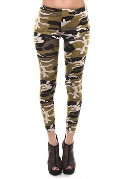 GI Jane Camo Leggings - $17.00 -- Stay at ease in these army green camo leggings.