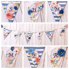 Bunting made with the Prima Santorini collection Photo Displays, Bunting, Altered Art, Scrapbook, Quilts, Santorini, Gallery, Summer, Projects