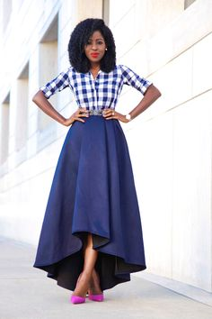 Gingham Shirt   High Low Full Skirt