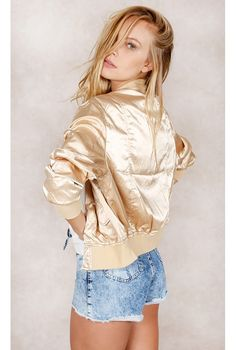 Jaqueta Bomber Shine Dourado Fashion Closet - fashioncloset