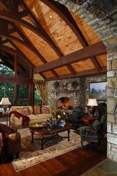 Living room design by Dianne Davant & Associates. #cabin #lodge_life