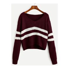 SheIn(sheinside) Burgundy Striped V Neck Crop Sweater (26 BAM) ❤ liked on Polyvore featuring tops, sweaters, burgundy, purple v neck sweater, cropped sweater, burgundy crop top, crop top and v-neck pullover sweater