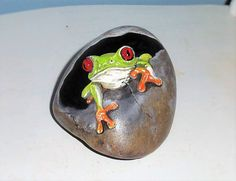 Tree Frog Hand Painted Rock