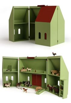 Doll's House and Farm from Hase Weiss Diy Dollhouse, Dollhouse Furniture, Victorian Dollhouse, Modern Dollhouse, Jewelry Box Plans, Doll House Plans, Toy Barn, Toy House, Farm House