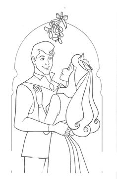 Aurora And Philip Meet Under The Mistletoe Coloring Pages