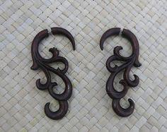 Fake Gauge Wooden Earring - Tribal Sono Wood Fake Gauge Earring - Fake Piercing Earring