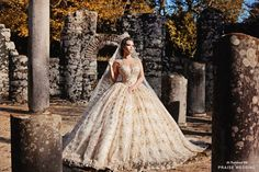 Show-stopping golden wedding dress from Frida Xhoi & Xhei overflowing with regal glamour!