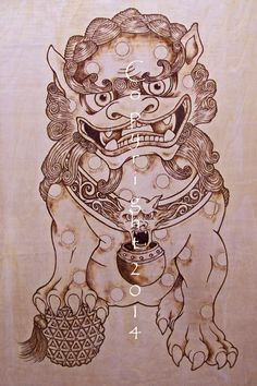 My Foo Dog Woodburning. It will be sold as a set once the female is complete. Prints for sale on Ebay