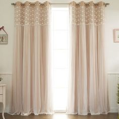 Laurel Foundry Modern Farmhouse Jacksonburg Lace Overlay Nature/Floral Blackout Thermal Grommet Curtain Panels Curtain Color: Peachy Pink, Size per Pa Rod Pocket Curtains, Grommet Curtains, Blackout Curtains, Drapes Curtains, Curtain Panels, Bedroom Curtains, Modern Curtains, Girl Curtains, Cream Curtains