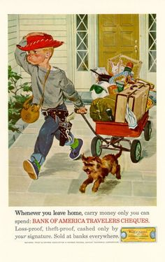 Items similar to Boy Running Away from Home with Wagon and Dog, 1962 Print Ad, Boy's Room Decor, Bank of America, American Express Travelers Cheques Vintage on Etsy Vintage Advertisements, Vintage Ads, Vintage Images, Vintage Prints, Vintage Posters, Retro Ads, Norman Rockwell Art, Rockwell Paintings, Decoupage
