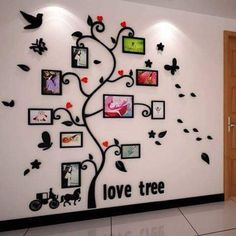 Carriage Happy tree photo frame crystal acrylic three-dimensional wall stickers Sofa photos of wall decoration Family Tree Wall Decor, Family Tree Picture Frames, Family Tree Photo, Frame Wall Collage, Frames On Wall, Wall Stickers Home Decor, Diy Wall Decor, Wall Painting Decor, Wall Design