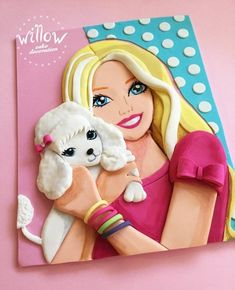 Barbie 2D fondant cake decoration by Tamara