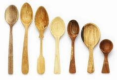 "spoons. . . ""When I begin carving I look for the differing qualities in each piece, allowing the grain and character to influence the design. Each spoon evolves to have its own personality and when finished becomes a showcase for the limitless beauty of wood."""