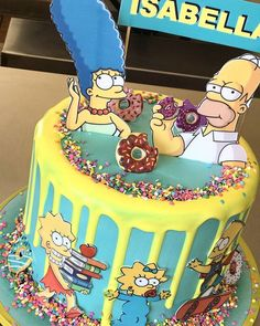 Bolo Simpsons, Simpsons Party, The Simpsons, Monster Jam Pit Party, Monster Jam Cake, Bolo Elsa, Make Birthday Cake, Birthday Morning, Cake Decorating Videos